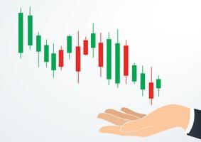 mão segurando o vetor de bolsa de valores de gráfico de castiçal