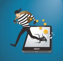 Ladrão, hacker, roubando dinheiro, ligado, esperto, telefone