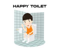 Homem feliz dos desenhos animados que senta-se em um toalete e que sorri isolado no fundo branco - ilustração vetorial vetor