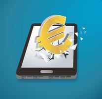Ícone do euro rompendo o vetor de smartphone de tela