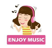 Vetor da ilustração da música de escuta da menina dos desenhos animados nos fones de ouvido - apreciando a vida.