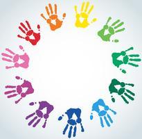 Abstrato com mão colorido imprime