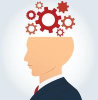 cabeça de homem de negócios do lado com fundo de vector de engrenagens