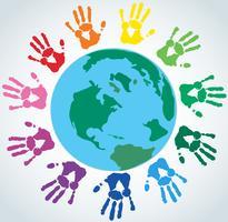Mão colorida imprime ao redor do vetor de terra