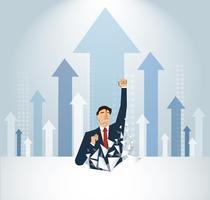 Empresário, quebrando a parede. Ilustração do conceito de negócio. Atingir meta. Crescimento para o sucesso