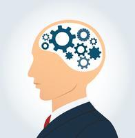 Homem negócios, e, engrenagens, ícone, em, cabeça, vetorial vetor