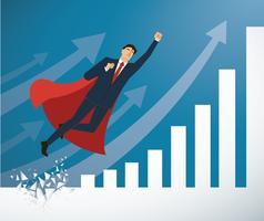 homem de negócios e capa vermelha Quebrando a parede para o vetor de sucesso. Ilustração do conceito de negócio