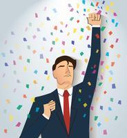 empresário comemorando uma conquista bem sucedida. Ilustração do conceito de negócio