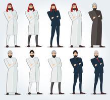 Homens árabes em pé com vetor de braços cruzados, ícone de pessoas árabes