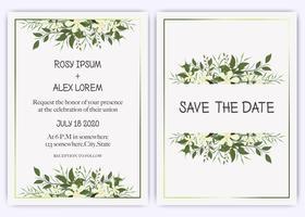 O casamento convida, convite, salvar o design de cartão da data com a anêmona elegante do jardim da alfazema. vetor