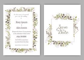 O casamento convida, convite, salvar o design de cartão da data com a anêmona elegante do jardim da alfazema.