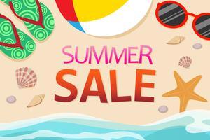 Vista superior da decoração de modelo de banner de venda de verão com objetos na praia vetor