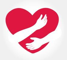 abraçar o coração vetor