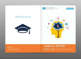 Cobrir o relatório anual de design, educação e conceito de aprendizagem. vetor