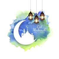 Resumo Eid Mubarak fundo religioso islâmico vetor