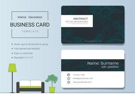 Modelo de cartão de nome comercial para designer de interiores. vetor
