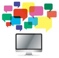 computador com caixa de chat colorido, fundo de comunicação de caixa de mensagem