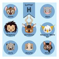 Alfabeto de retrato animal - letra H