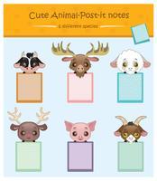 Conjunto de porta-notepad com animais fofos