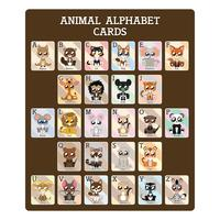 Cartões de alfabeto de animais educacionais divertidos