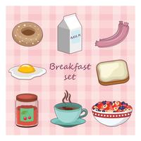 Coleção de vários itens alimentares de pequeno-almoço vetor