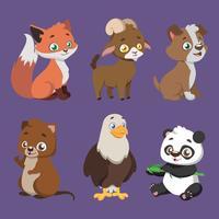 Conjunto de seis espécies diferentes de animais