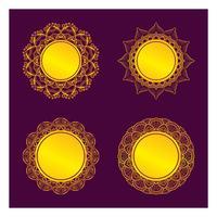 Desenhos de moldura de mandala dourada
