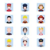 Coleção de avatares representando trabalhos vetor