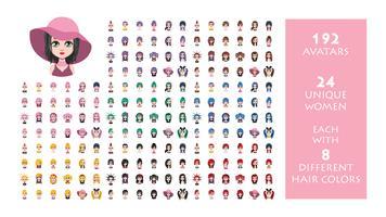 Coleção de avatar de 192 mulheres - 24 mulheres únicas, cada uma com 8 cores de cabelo diferentes vetor