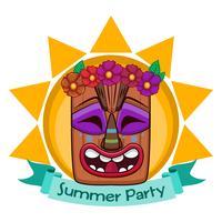 Tiki face design com banner vetor