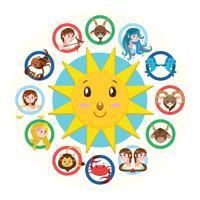 Doze, sinais, de, a, zodiac, ilustração, versão, 2