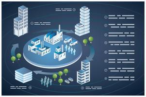 Cidade de edifícios isométricos vetor