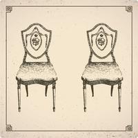 móveis de estilo vintage vetor
