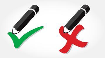 true / false icon vector, lápis escrevendo verdadeiro / falso ícone