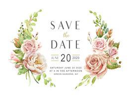 Buquê de flores em aquarela para cartão de casamento.