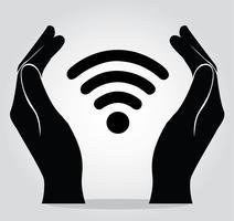 mãos segurando o vetor de símbolo de ícone de Wi-Fi