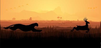 Cheetah Chasing Deer silhueta vetor
