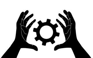 mão segurando engrenagem, engenheiro símbolo vetor