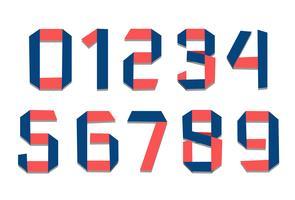Números de fontes de dobra de papel vetor