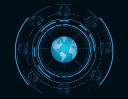 Fundo de tecnologia do globo do mundo vetor
