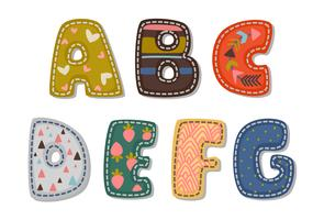 Bela impressão em alfabetos fonte em negrito para as crianças parte 1 vetor