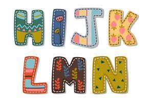 Bela impressão em alfabetos negrito fonte para crianças parte 2 vetor