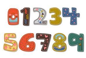 Bela impressão em números de fonte em negrito para crianças vetor