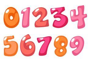 Números de fonte em negrito bonito na cor rosa para crianças vetor