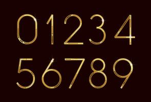 Números de fonte de moda dourada