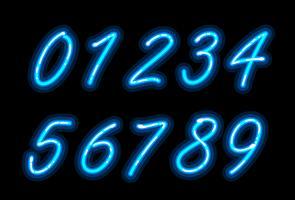 Fonte do alfabeto de néon em números azuis