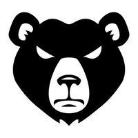 Urso com raiva cara dos desenhos animados vetor