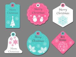 Conjunto de tags de Natal sortidas. vetor