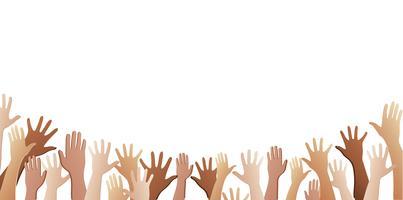 todas as mãos para cima e vetor de fundo