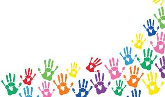mãos coloridas imprime fundo vetor